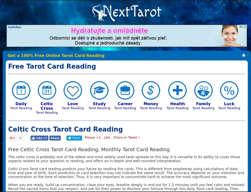 Next Tarot, the free tarot card reading site, reviewed by