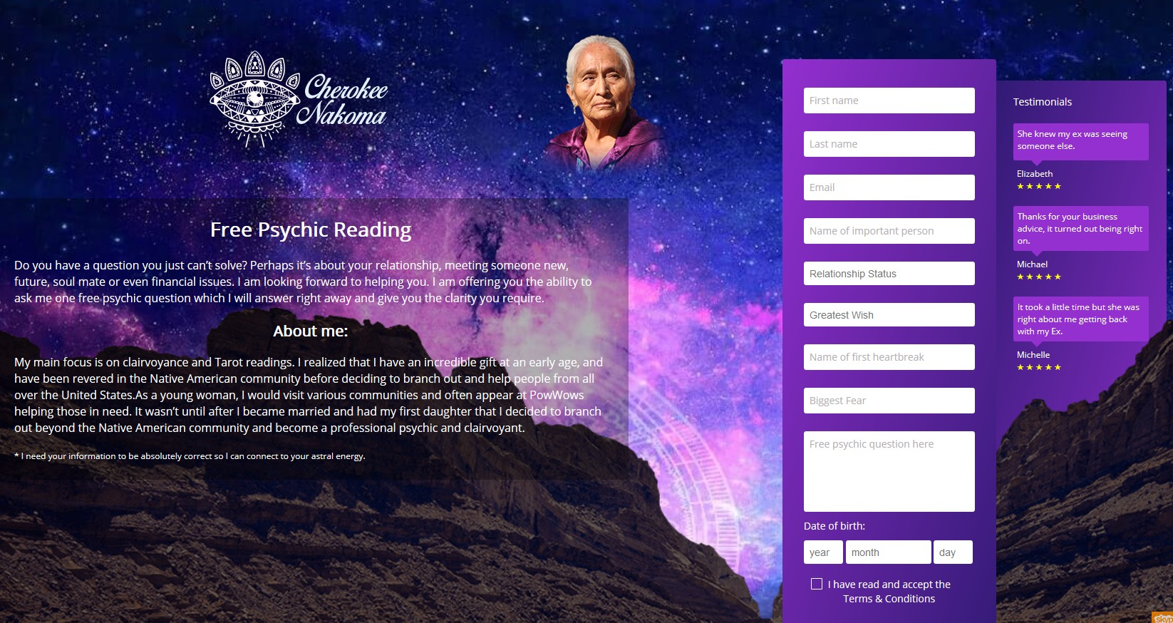 Cherokee Nakoma is a Native American psychic, clairvoyant and tarot